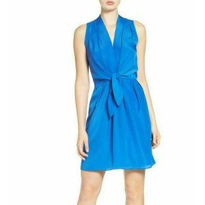 FELICITY & COCO Blue Tie Front Pleated Dress M